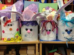 Recycleable Easter Buckets made with lots of love and large cans of tomato sauce, fruit, or beans.  Bunny Cans can be done on a littler scale with soup cans or tomato sauce cans.  Spray paint cans, then use misc. items to decorate cans to create bunny face.  Use foam to cut out two ears, goggly eyes, and a pom pom for a fluffy tail.  Fill with your favorite Easter Goodies-- these were filled with Spring Pencils, Play Dough, Egg Shaped Chalk, Bubbles and a couple of pieces of Chocolate.