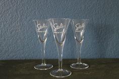 3(Three) Stoli Russian Vodka Stemmed CLEAR Shot Glasses Cordials
