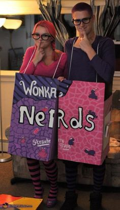 NERDS: Grab the bestie or bae and go for this ~nerdy~ costume that just requires some cardboard and paint! See more Halloween inspiration and ideas at Cosmopolitan.com.
