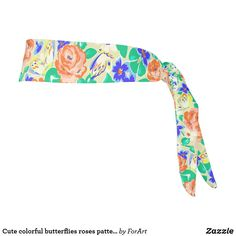 Cute colorful butterflies roses patterns tie headband Train Like A Beast, Sweat Out, Tie Headband, All Print, Party Hats, Your Hair, Butterflies, Art Pieces, Roses