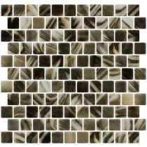 Charcoal and Cream Brushstroke Recycled Glass Tile