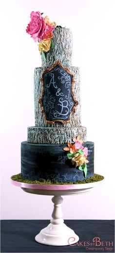 Rustic Chalkboard Cake - For all your cake decorating supplies, please visit craftcompany.co.uk