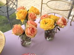 Garden Party Bridal Shower Centerpieces - 3 roses in mason jars <3
