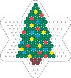 Christmas tree perler hama bead pattern on star board Hama Beads Design, Diy Perler Beads, Perler Bead Art, Christmas Perler Beads, Beaded Christmas Ornaments, Christmas Crafts, Christmas Tree, Christmas Patterns, Pearler Bead Patterns