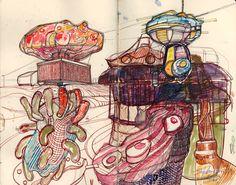 Ignacio Klindworth. Atracciones de feria. Mixta sobre papel, cuaderno. 27x21cm. Barcelona 2003.