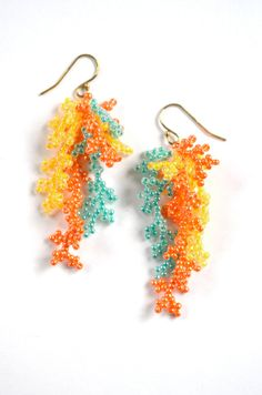 Long Beaded Coral Branch Orange and Turquoise Seed by KeelinBrett
