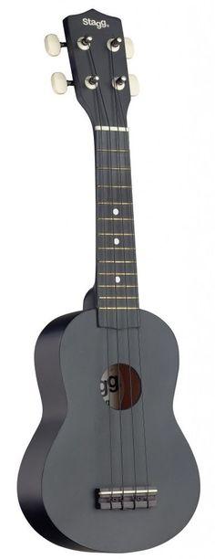 Stagg Black Soprano Basswood Top Ukulele With Black Nylon Gig Bag - US-NIGHT  #STAGG #SOPRANO #UKULELE