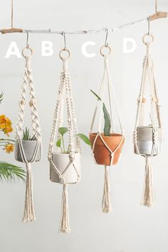 Macrame plant hangers Short wall planter indoor outdoor Small suspended pot holder Rope crochet hanging planter Simple minimalist boho decor - Thanks so much for visiting our store, we make macrame plant hangers in various colors, sizes, styl - Crochet Plant Hanger, Plant Hangers, Macrame Plant Hanger Diy, Rope Plant Hanger, Macrame Plant Hanger Patterns, Pot Hanger, Ideias Diy, Macrame Projects, Macrame Supplies