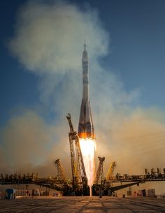 https://flic.kr/p/hma3pY | Expedition 38 Soyuz Launch | The Soyuz TMA-11M rocket is launched with Expedition 38 Soyuz Commander Mikhail Tyurin of Roscosmos, Flight Engineer Rick Mastracchio of NASA and Flight Engineer Koichi Wakata of the Japan Aerospace Exploration Agency onboard, Thursday, Nov. 7, 2013, at the Baikonur Cosmodrome in Kazakhstan. Tyurin, Mastracchio, and, Wakata will spend the next six months aboard the International Space Station. Photo Credit: (NASA/Bill Ingalls)