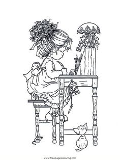 sarah kay coloring pages Cute Coloring Pages, Printable Coloring Pages, Adult Coloring Pages, Coloring Pages For Kids, Coloring Books, Holly Hobbie, Sarah Key, Anne Geddes, Digital Stamps