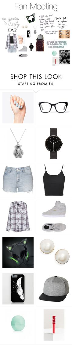 """Fan meeting"" by winter213 ❤ liked on Polyvore featuring Spitfire, I Love Ugly, Topshop, Rails, Puma, Love Quotes Scarves, Kate Spade, UB by N.A.R., Eos and Lime Crime"