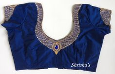Beautiful Blouse work designs with kundan, mirror, zardosi etc Pattu Saree Blouse Designs, Blouse Designs Silk, Bridal Blouse Designs, Blouse Back Neck Designs, Hand Work Blouse Design, Simple Blouse Designs, Stylish Blouse Design, Gandhi, Maggam Works