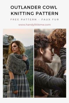 Outlander Cowl Knitting Pattern. Make a faux fur scarf with this free knitting pattern. Inspired by an Outlander cowl that Claire Fraser wears in the TV series, this scarf is a warm alternative! A great quick and easy knit that you can wear to stay warm this winter! #fauxfurscarf #fauxfuryarn #scarf #scarfpattern #knitting #knittingpatterns Outlander Knitting Patterns, Free Knitting Patterns For Women, Beginner Knitting Patterns, Knitting Abbreviations, Outlander Costumes, Quick Knits, Claire Fraser, Poncho, Yarn Crafts