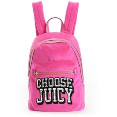CHOOSE JUICY VELOUR BACKPACK ❤ liked on Polyvore featuring bags, backpacks, velour bag, pink backpack, juicy couture backpack, rucksack bag and knapsack bags