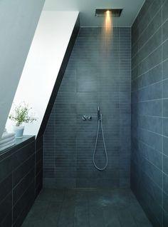 angled slate shower