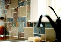 Snapshot of Inspiration   Natural Slate Kitchen Backsplash   Jeffrey Court Slate Rust Brick 12 in. X 12 in. Mesh Mounted Slate Floor and Wall Tile   The Home Depot