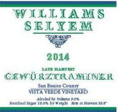 2014 Williams Selyem Gewürztraminer Late Harvest Vista Verde Vineyard