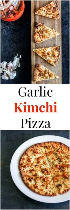 Stone Baked Garlic Kimchi Pizza recipe - It's crispy and savoury with a tint of Kimchi flavour. A perfect Korean fusion entry dish that will please your dinning guest. | MyKoreanKitchen.com