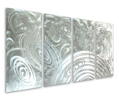 Silver Infinity Circles Hand-Painted Aluminum Wall Art Set of 4