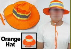 """Stay visible while keeping the sun out of your eyes and off of your neck with a Reflective Bright Orange Ranger-style hat.  Made of 100% Polyester, this hat features a wide brim with vents to keep workers cool, comfortable and highly visible.  An adjustable chin strap is also included to keep the hat firmly in place or around the workers necks during breaks.  Hat measures 15"""" total length and comes in Size L/XL.  Individually packaged and UPC coded. Only $1.00 each. #safety #booney…"""