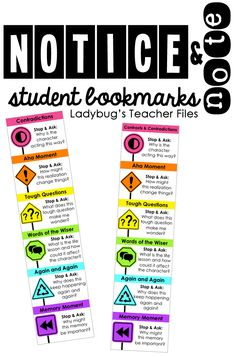 Notice and note bookmarks from Ladybug's Teacher Files