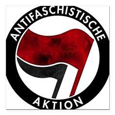 "Antifa Logo Square Car Magnet 3"" x 3"""
