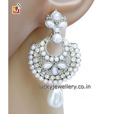 Fed up with same old style #jewelry accessories. Try this elegant Silver Polished Pearl & Stone Hanging #Earring. Get it now online from #LuckyJewellery. This #monsoon season look stunning with this stylish earring. #jewellery #fashion #style #wedding http://ift.tt/29gqN7g