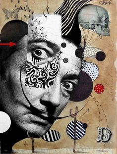 """Collage, """"hello dali"""" art is part of Dada art - Dada Collage, Collage Kunst, Art Du Collage, Collage Portrait, Collage Artists, Portrait Paintings, Abstract Portrait, Painting Abstract, Acrylic Paintings"""