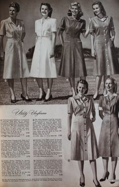 1940s Ladies Workwear Clothes: 1947- Generic nurses uniforms and Utility (work) dresses including the Kitty Foyle Dress (Right most dress) #WW2 #1940s