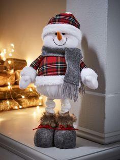 Tartan Standing Snowman Christmas Decoration - One Colour - Snowman Christmas Decorations, Hanging Christmas Tree, Christmas Tree Baubles, Christmas Gnome, Snowman Crafts, Personalized Christmas Ornaments, Plaid Christmas, Christmas Wreaths, Christmas Crafts
