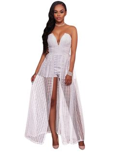 2017 Top Women Sexy perspective lace Dress Ladies Party club Dresses summer elegant Off the shoulder sleeveless Dresses Dressy Rompers And Jumpsuits, Rompers Women, Jumpsuits For Women, Women's Rompers, Overalls Fashion, Overalls Women, Women's Overalls, Shorts, Cheap Club Dresses