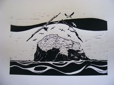 Single colour linocut Here the task was to create an print using a single lino cut block, in a single colour. For this I chose an image of a local landmark – the bass rock in the Firth of For…