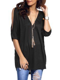 Plunging Neck Cold Shoulder Asymmetrical T-Shirt