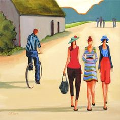 Daily Painting, A Pleasant Afternoon, contemporary figure painting in a rural setting, painting by artist Carolee Clark Love Painting, Figure Painting, Clark Art, Peaceful Places, Original Paintings, Best Friends, Abstract Art, Bicycle, Fine Art