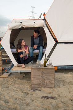 The B-and-Bee hexagonal sleeping cells each contain a king-size bed that can transform into a lounge seat, with storage space underneath.
