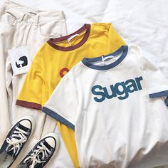 Sugar Ringer T-shirt Colours) Cute Comfy Outfits, Trendy Outfits, Cool Outfits, Tshirt Photography, Clothing Photography, Aesthetic T Shirts, Aesthetic Clothes, Korean Shirts, Hippie T Shirts