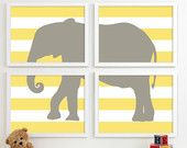 Modern Nursery Art Chevron Elephant Nursery Print, Safari Animal Kids Wall Art for Children Room Playroom, Baby Nursery Decor - Four 8x10. $50.00, via Etsy.