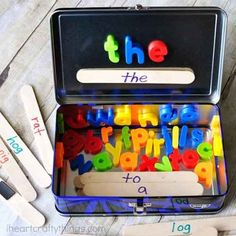 Word Building Activity Travel Kit Summer is here and road trip season is in full swing! From experiencing a 9 hour flight with a nearly 3 year old I thought I'd share this awesome word building travel kit! Engaging travel activities create a context for laughter and learning to share with your child. What a joy it is to watch your child explore an activity specific to their interests and development! Supplies: metal pencil box (or lunch box), jumbo craft sticks, permanent markers, lowercase…