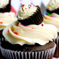 """This is cute! I would make like a chocolate cupcake with a pb filling and then use a small Reese's for the """"cupcake"""" on top"""