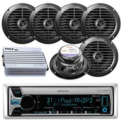Kenwood KMR-D765BT Bluetooth CD MP3 USB AUX AM/FM Radio Marine Boat Stereo 6 X 6.5 Dual Cone Marine Speakers 4 Ch Waterproof 400 Watt Amplifier. Package includes: 1 Kenwood KMR-D765BT CD Bluetooth Marine Boat Yacht Outdoor USB AUX AM/FM Radio Receiver - 6x 150 Watts 6.5'' 2 Way Marine Speakers (Black) - PLMRA400 Pyle 4 Channel 400 Watt Waterproof Marine Amplifier. Kenwood KMRD765BT unit comes with built in Bluetooth which gives you the added ease of hands free calling as well as wireless...