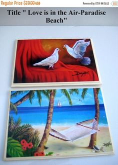 ON SALE Two Oil Paintings reproduction .Wooden by thebestart1122