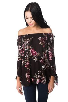 Floral Off-the-Shoulder Blouse with Tie Sleeves