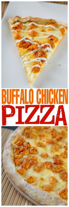 Homemade Buffalo Chicken Pizza: Spicy buffalo chicken, gooey cheese, and creamy blue cheese on a baked to perfection no rise crust! Your new favorite game day snack!