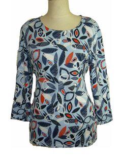 T-shirt Gerry Weber Summer Breeze 3/4 mouw blauw print