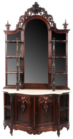 Victorian Rococo Revival Heavily Carved Rosewood Etagere With Marble Top, Carved…
