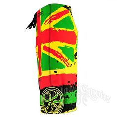"These 22"" engineered boardshorts feature a Rasta colored design of a hand painted Hawaiian Flag. The print is only on the wearer's left leg while the right one is entirely black. The waist has a Velcro closure, along with two flaps with grommets and a black string tie, and a Lycra fly cover. There is a side pocket on the wearer's left leg with a black Velcro-closure pocket flap that features a Hawaiian islands embroidery in yellow. The waistband also has an ""HIC"" embroidery and a rubber HIC…"