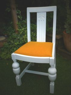 Old dinning chair resprayed and re-upholstered in beautiful rich yellow.