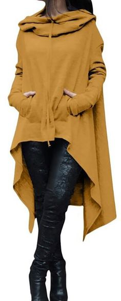 Solid Cotton Casual Long Sleeve Plus Size Hoody Look Fashion, Fashion Outfits, Womens Fashion, Fashion Design, Fashion Trends, Fall Outfits, Casual Outfits, Cute Outfits, Plus Size Fashion For Summer