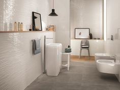 White-paste 3D Wall Cladding WAVE White-body wall tiles Collection by Atlas Concorde