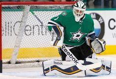 DALLAS, TX - FEBRUARY 13: Jhonas Enroth #1 of the Dallas Stars skates during pregame warm up before the Stars take on the Florida Panthers at American Airlines Center on February 13, 2015 in Dallas, Texas. (Photo by Tom Pennington/Getty Images)